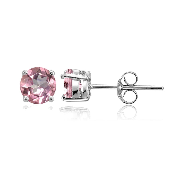 Sterling Silver Light Pink Topaz Round Stud Earrings, 6mm
