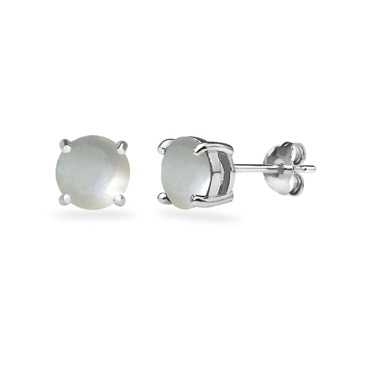 Sterling Silver Created Mother Of Pearl Round 6mm Prong-set Stud Earrings
