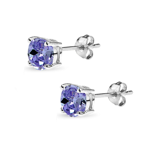 Sterling Silver Simulated Tanzanite 6mm Round Solitaire Dainty Stud Earrings