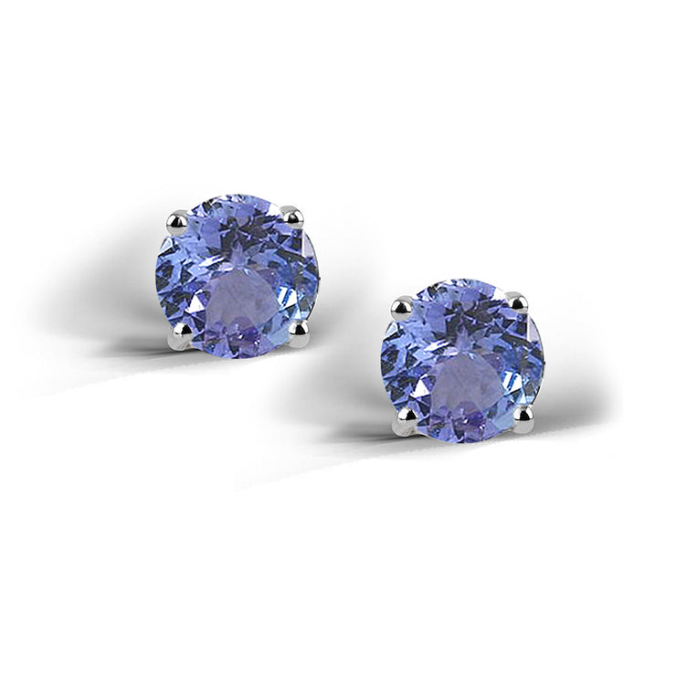 Sterling Silver 2ct Created Tanzanite Stud Earrings, 6mm