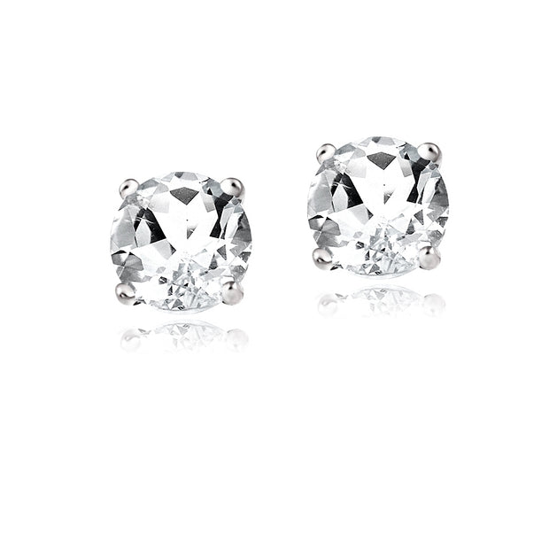 Sterling Silver White Topaz 6mm Round-Cut Solitaire Stud Earrings