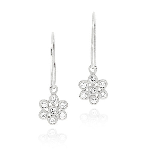Sterling Silver CZ Flower Dangle Earrings
