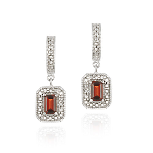 Sterling Silver Garnet & Diamond Accent Rectangular Dangle Earrings