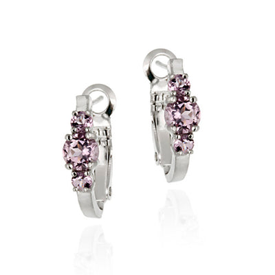 Sterling Silver Genuine Amethyst Three Stone Hoop Earrings