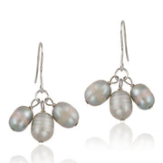 Sterling Silver Gray Freshwater Cultured Pearl Cluster Dangle Earrings
