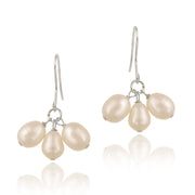 Sterling Silver Freshwater Cultured Peach Pearl Cluster Dangle Earrings