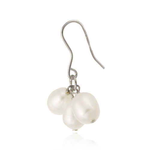 Sterling Silver White Freshwater Cultured Pearl Cluster Earrings