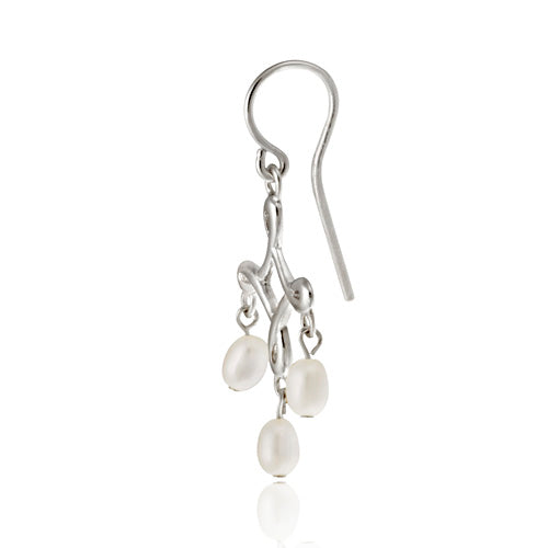 Sterling Silver White Freshwater Cultured Pearl Chandelier Earrings
