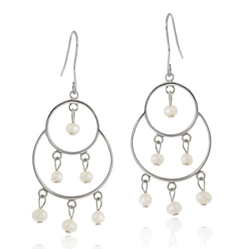 Sterling Silver Freshwater Cultured White Pearl Chandelier Earrings