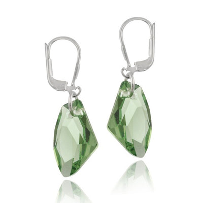 Sterling Silver Peridot Swarovski Elements Rock Dangle Earrings