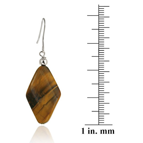 Sterling Silver Tiger Eye Geometric Dangle Earrings