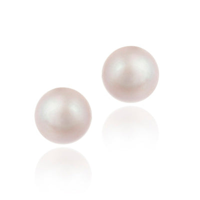 Sterling Silver Pink Freshwater Cultured Pearl 10-10.5mm Stud Earrings
