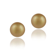 Sterling Silver Freshwater Cultured 10-10.5mm Golden Green Pearl Stud Earrings