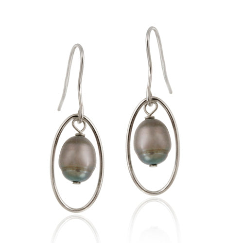 Sterling Silver Freshwater Cultured Grey Pearl Dangle Earrings