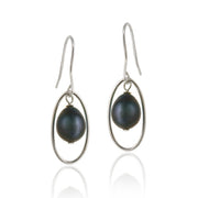 Sterling Silver Freshwater Cultured Peacock Pearl Dangle Earrings