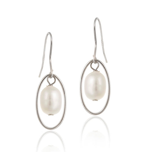Sterling Silver White Freshwater Cultured Pearl Oval Dangle Earrings