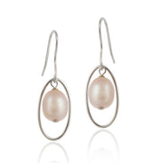 Sterling Silver Freshwater Cultured Pink Pearl Dangle Earrings
