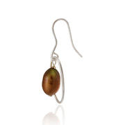Sterling Silver Brown Freshwater Cultured Pearl Oval Dangle Earrings