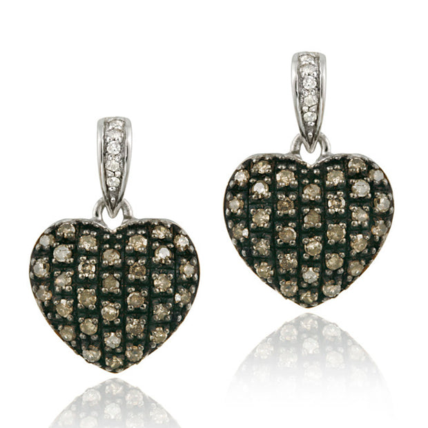 Sterling Silver .72ct tdw Champagne & White Diamond Heart Dangle Earrings