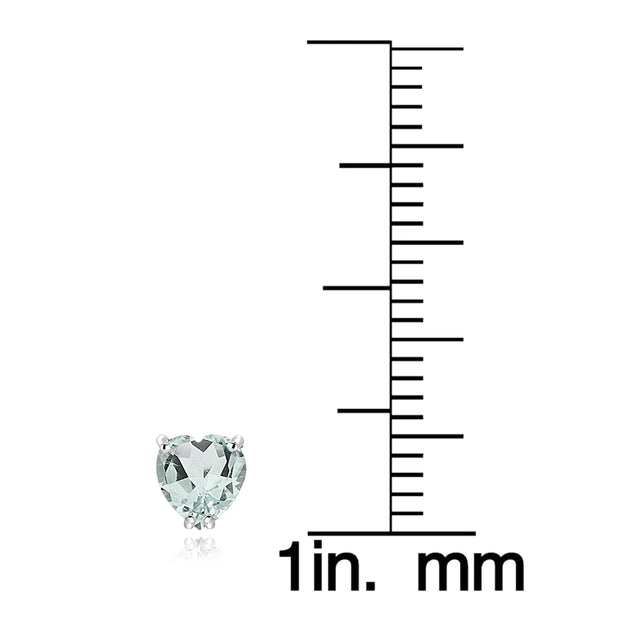 Sterling Silver Aquamarine 5mm Heart Stud Earrings