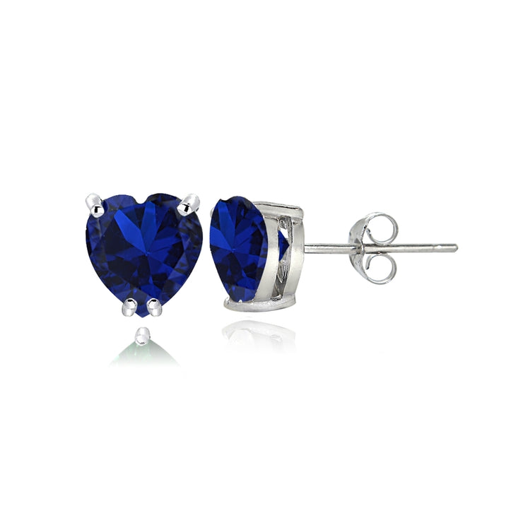 Sterling Silver Created Blue Sapphire 5mm Heart Stud Earrings