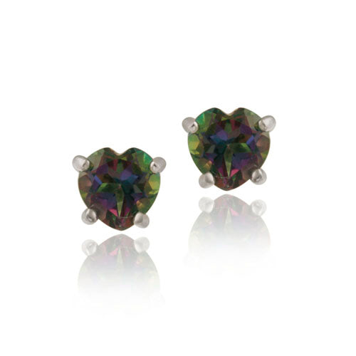 Sterling Silver Green Mystic Topaz 5mm Heart Stud Earrings