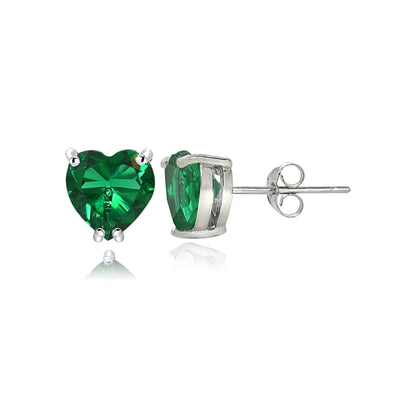 Sterling Silver Created Emerald 5mm Heart Stud Earrings