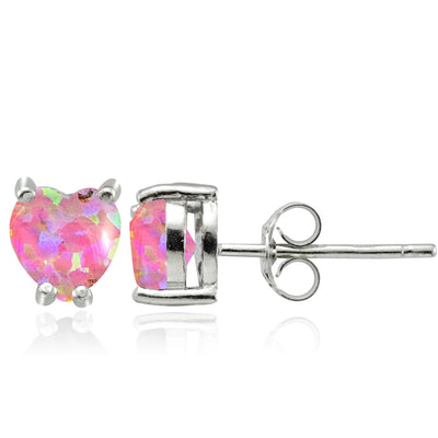 Sterling Silver Created Pink Opal 5mm Heart Stud Earrings