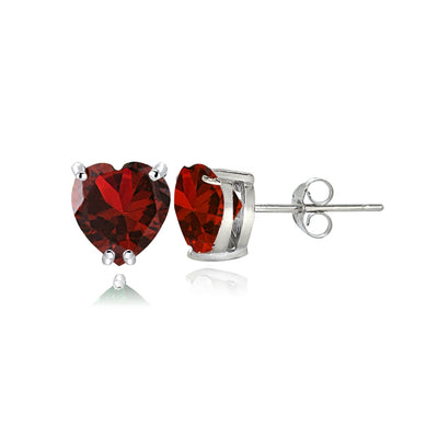 Sterling Silver Created Ruby 5mm Heart Stud Earrings