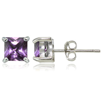 Sterling Silver Simulated Alexandrite 5mm Square Stud Earrings