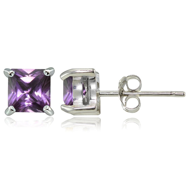 Sterling Silver Created Alexandrite 5mm Square Stud Earrings