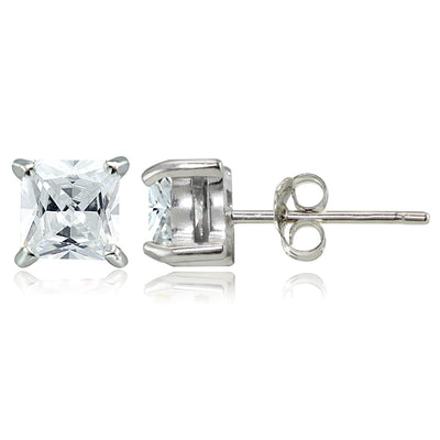 Sterling Silver 1.5ct Cubic Zirconia 5mm Square Stud Earrings