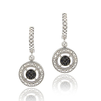Sterling Silver 1/10ct TDW Black Diamond Round Dangle Hoop Earrings