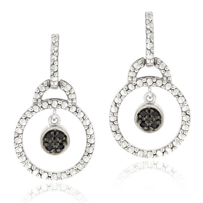 Sterling Silver 1/10ct TDW Black Diamond Double Circle Dangle Earrings