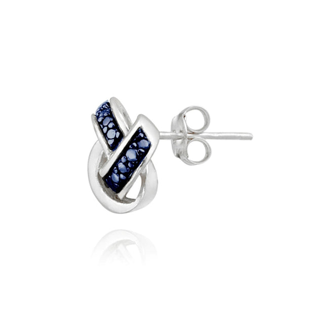Sterling Silver Blue Diamond Accent Love Knot Stud Earrings