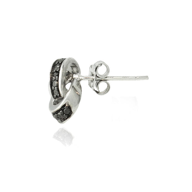 Sterling Silver Black Diamond Accent Love Knot Stud Earrings