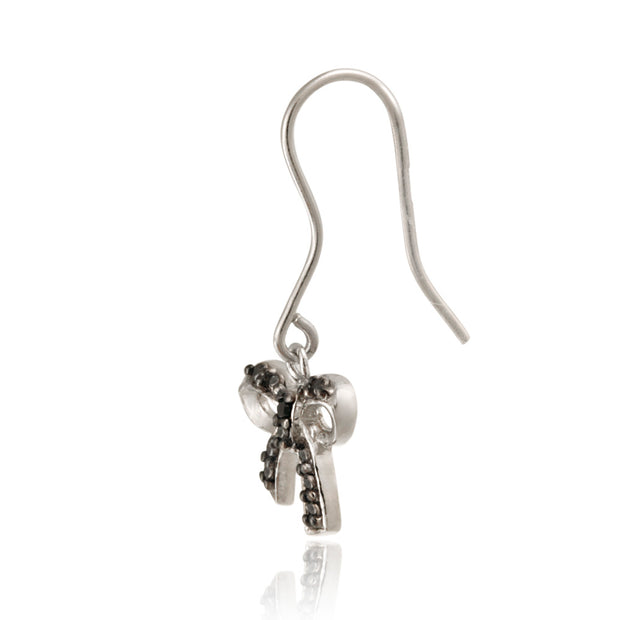 Sterling Silver Black Diamond Accent Bow Dangle Earrings
