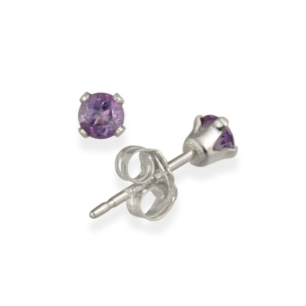 Sterling Silver 1/5ct Amethyst Stud Earrings, 3mm
