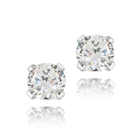 Sterling Silver 1/5ct CZ Stud Earrings, 3mm