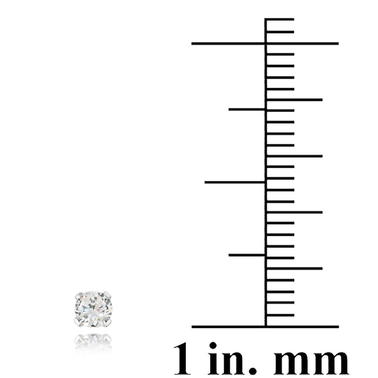 Sterling Silver 1/5 ct CZ Stud Earrings, 3mm