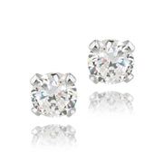 Sterling Silver 1/2 ct CZ Stud Earrings, 4mm