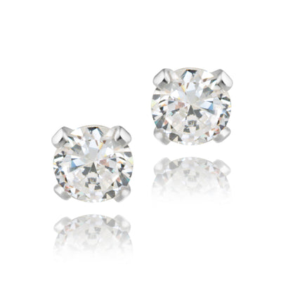 Sterling Silver 1/2 Carat CZ Stud Earrings, 4mm