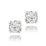 Sterling Silver 1/2ct CZ Stud Earrings, 4mm