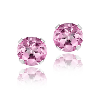 Sterling Silver 1ct Light Pink CZ Stud Earrings, 5mm