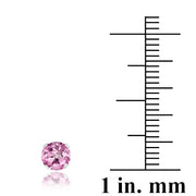 Sterling Silver 1 ct Light Pink CZ Stud Earrings, 5mm
