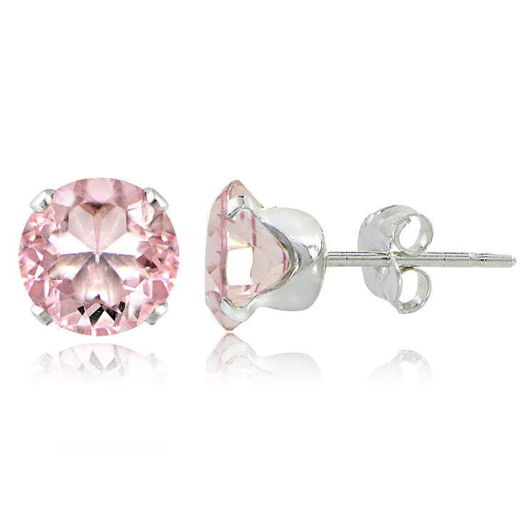 Sterling Silver 2ct Morganite Topaz Stud Earrings, 6mm
