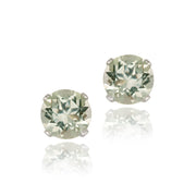 Sterling Silver 1.5ct Green Amethyst Stud Earrings, 6mm