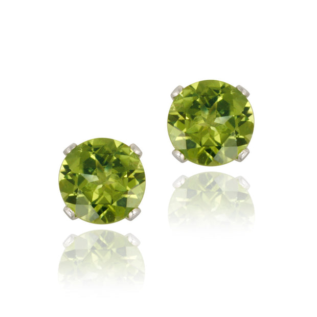 Sterling Silver 1.8ct Peridot Stud Earrings, 6mm