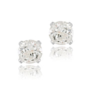 Sterling Silver 1.5ct CZ Stud Earrings, 6mm