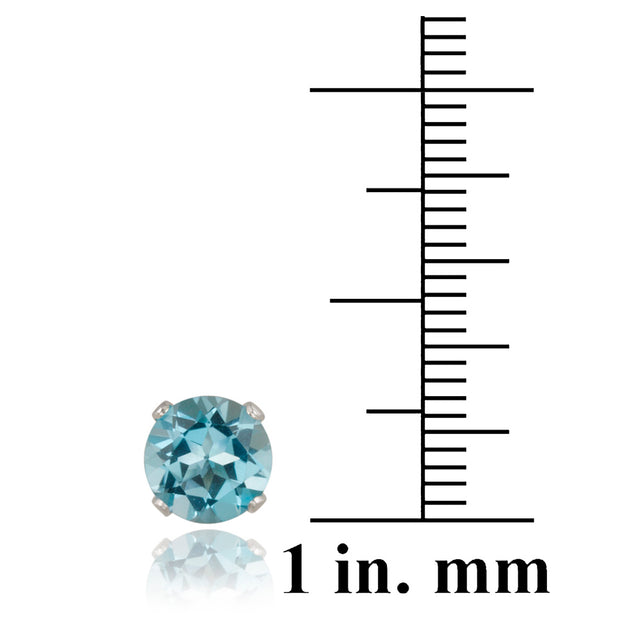 Sterling Silver 3.2ct Swiss Blue Topaz Stud Earrings, 7mm